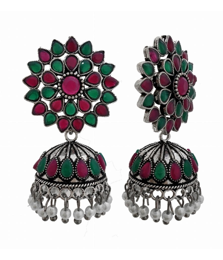 designer oxidiesed earring in ruby stone