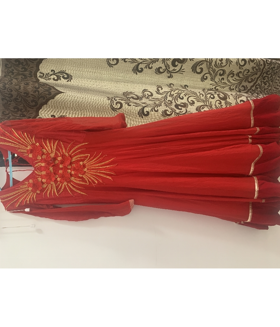 Bright Red Embellished Gown