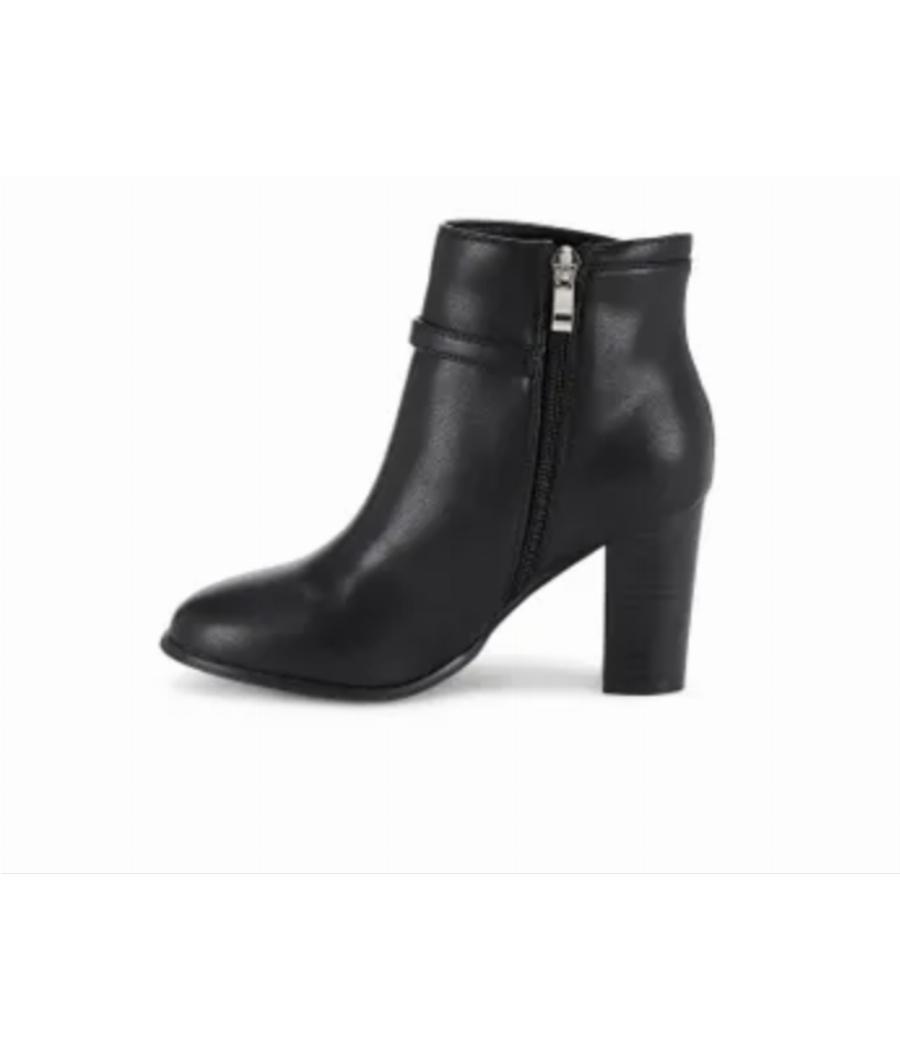 Ceriz Claude Black Round Toe Heeled Boots