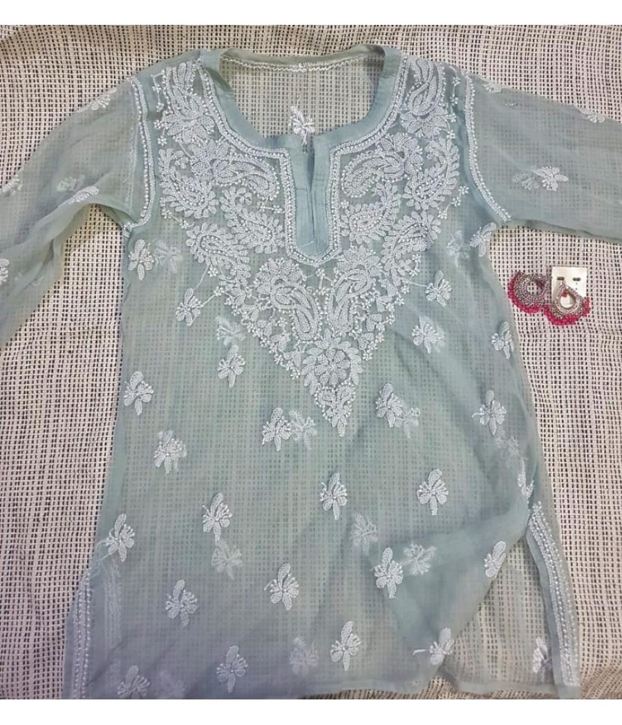 Women Grey and White Chikankari Hand Embroidered Straight Kurti.