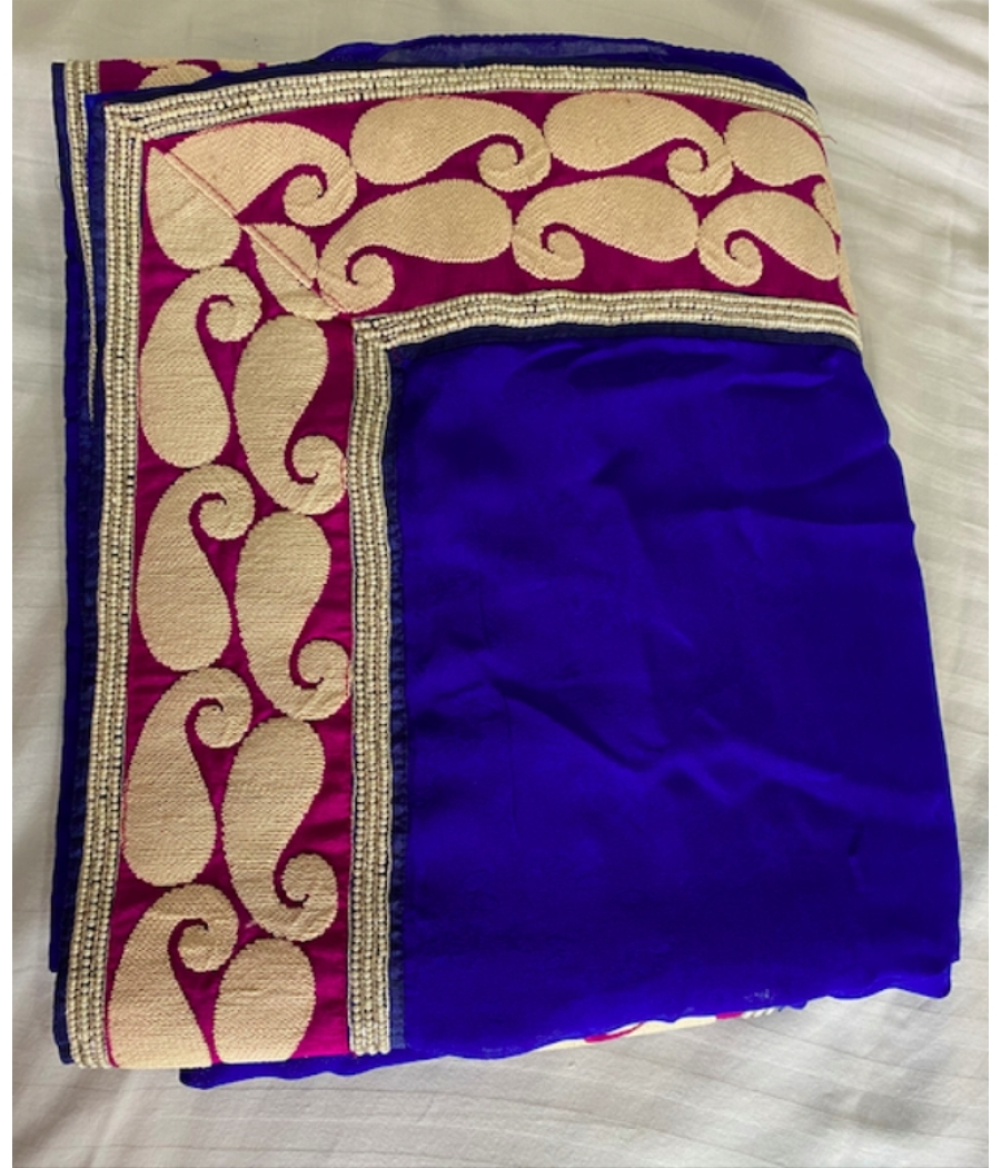Pure Navy Blue Georgette Saree with Pearl Border