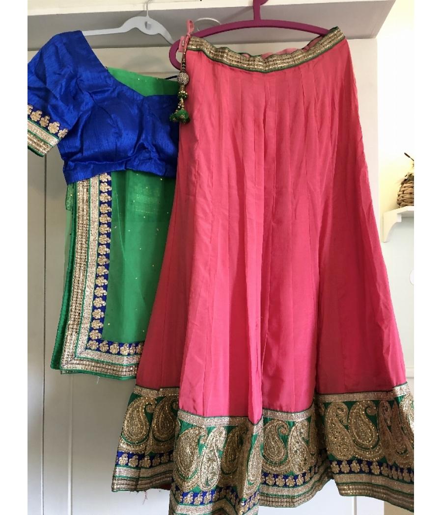 Beautiful elegant silk lehnga choli with dupatta for festive and wedding functions