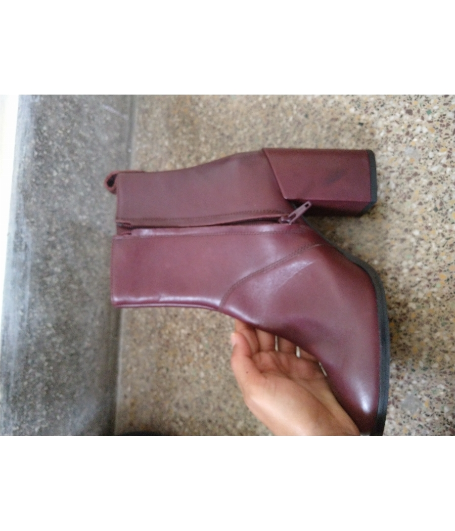 Genuine Leather Ankle Boots - Cherry color | Size 6