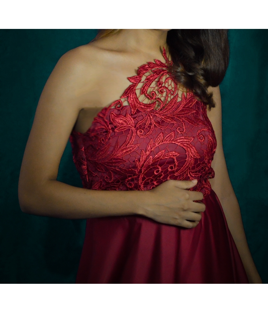 Maroon one shoulder gown