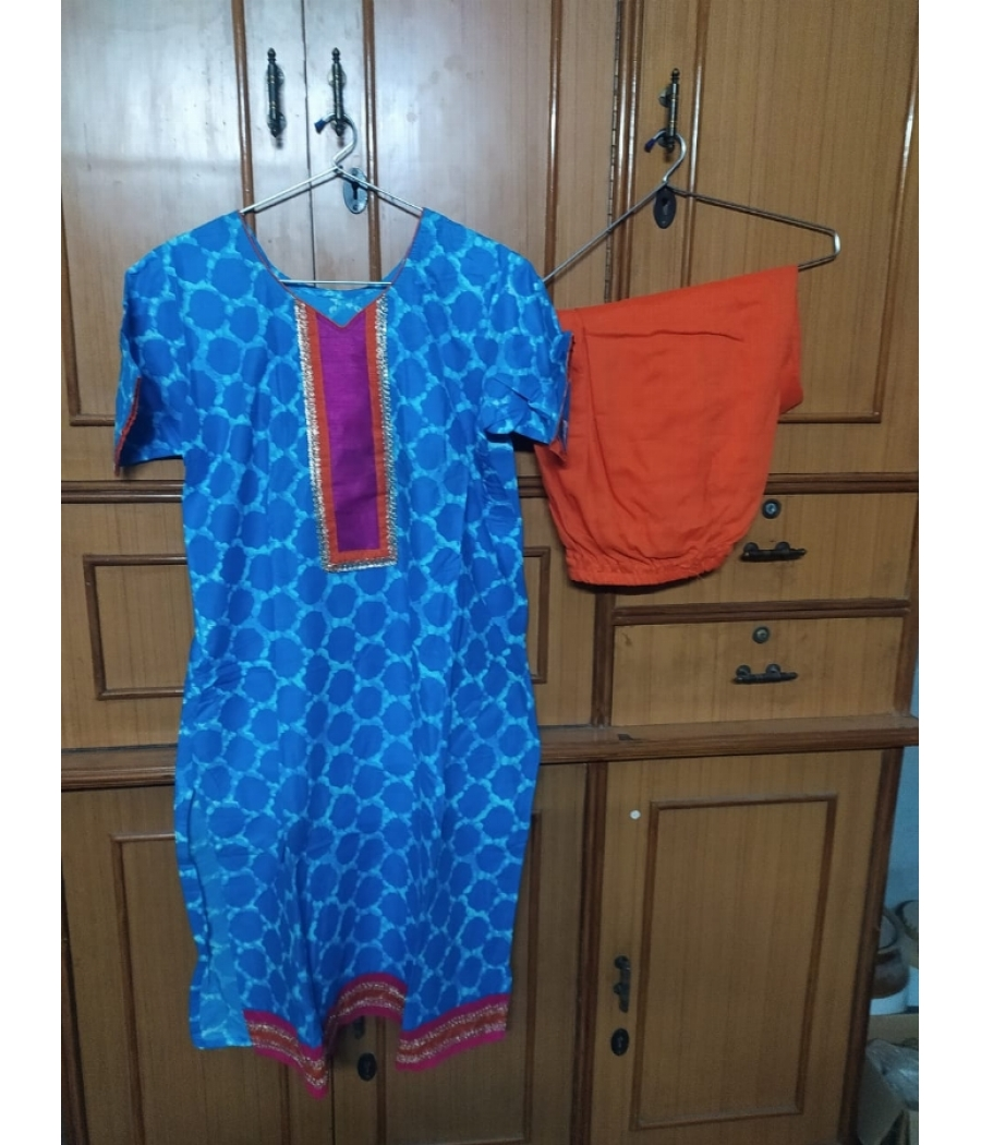 Unworn New Blue Orange Suit
