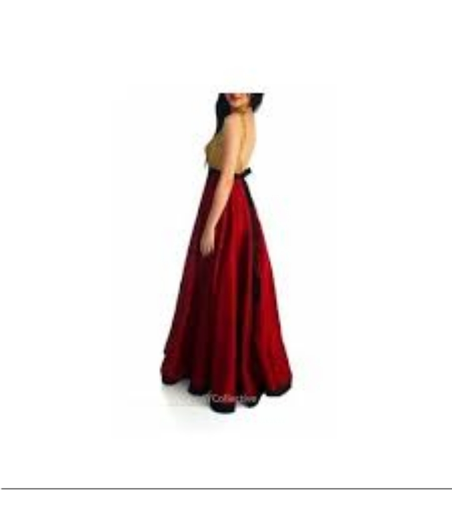 6Y Collective Burgandy Raw Silk Gown with Sequins