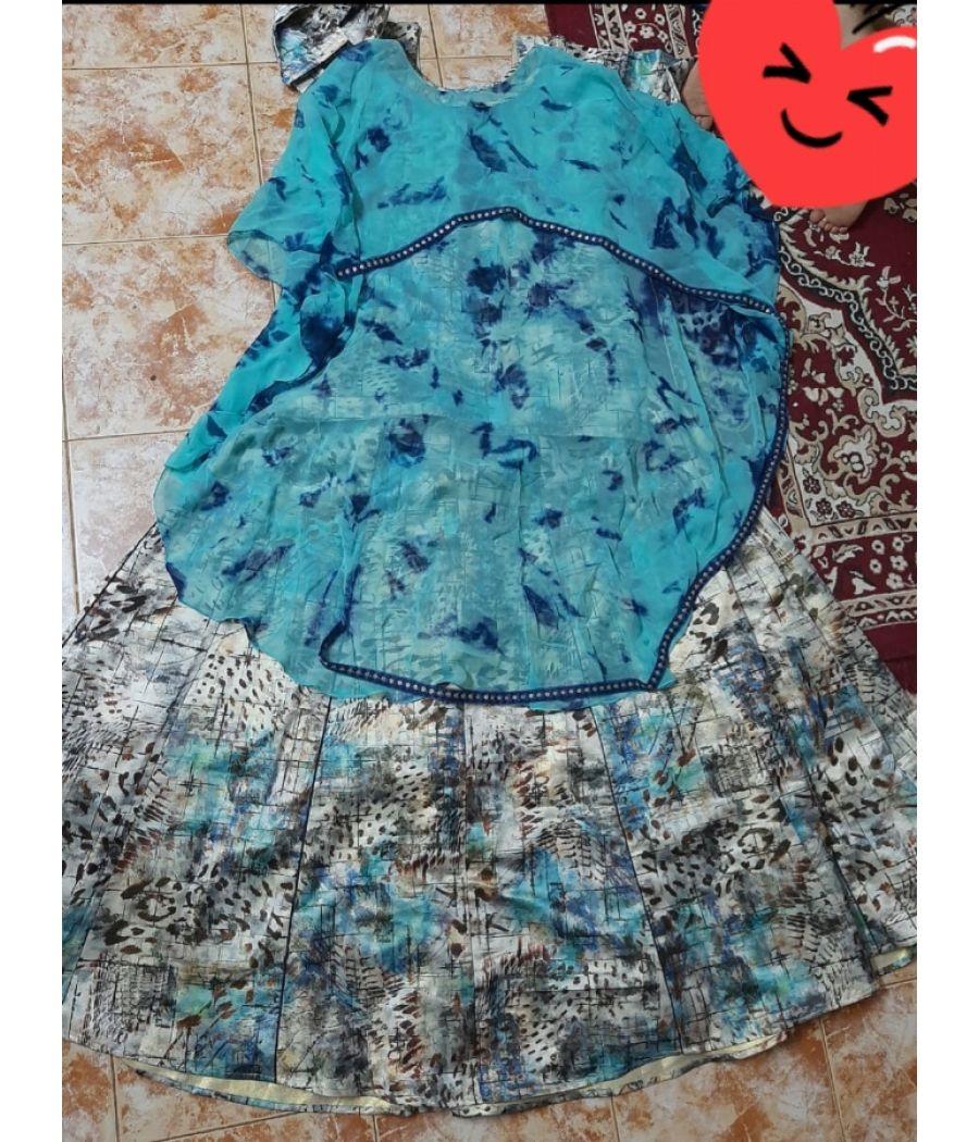 Torques  Designer Jaquaed Skirt with Cape And dupatta