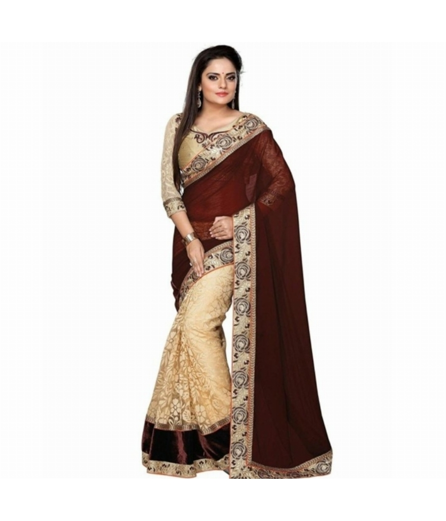 Bano Tradelink Chiffon Brasso Half Half Saree With Heavy Work Lace with Blouse