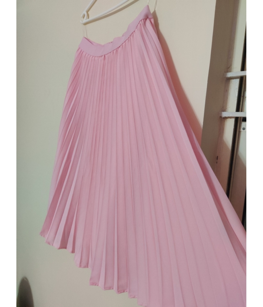 Kate Kasin baby pink pleated accordian skirt