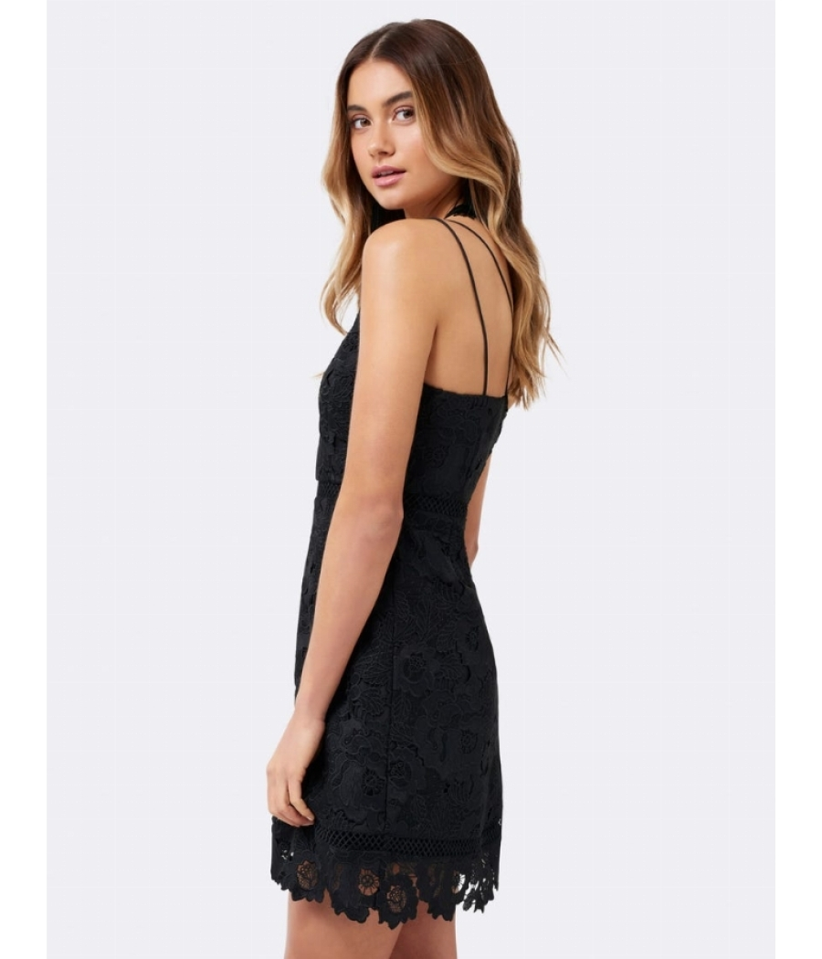 Forever New Alice a-line lace mini Dress (BLACK)