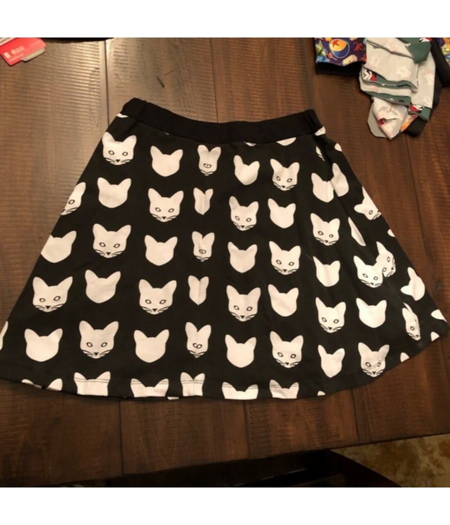 Meowingtons cat print Skirt