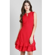 Zink London Red Solid Ruffled Dress