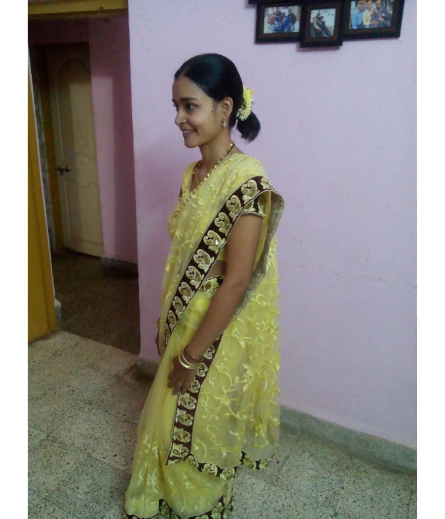 Net saree with stiched blouse and peticoat