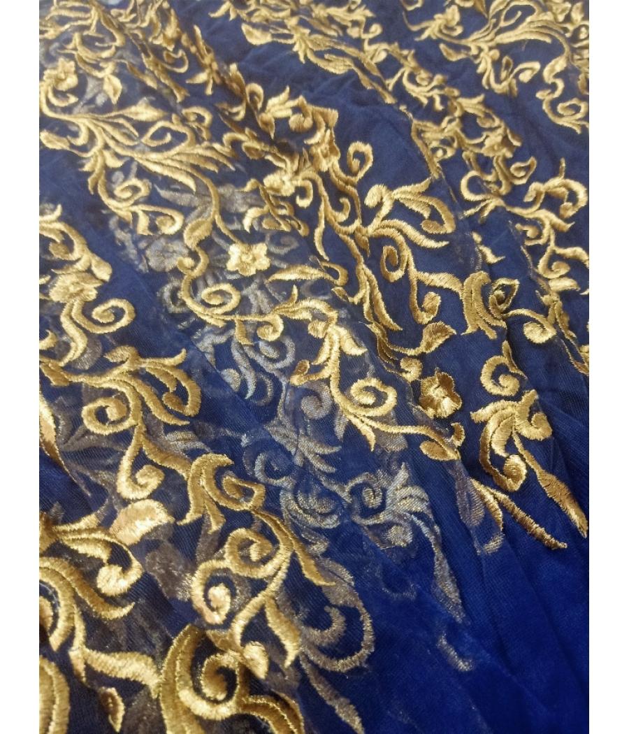 Royal blue heavy embroidered stitched lehenga