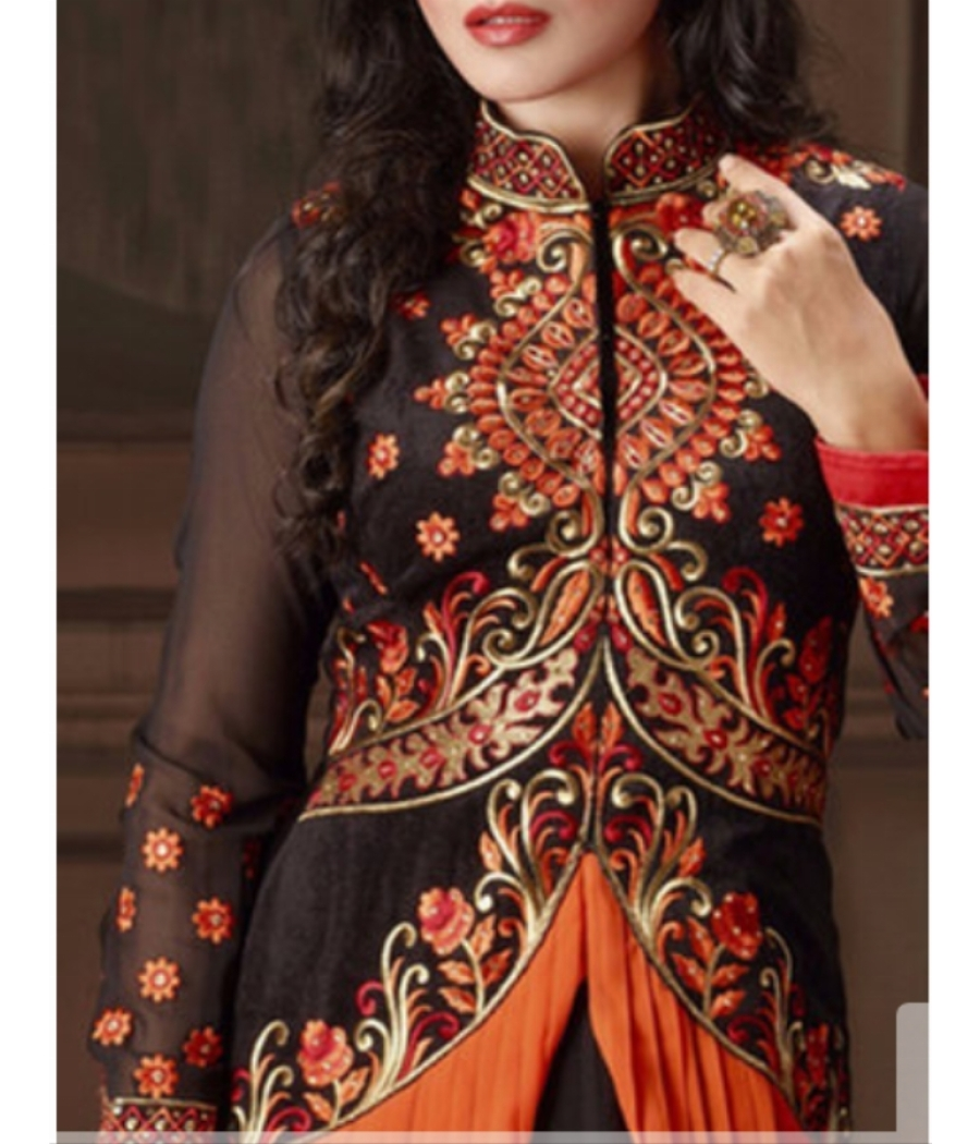 Beautifully embroidered semi-stitched gown dress