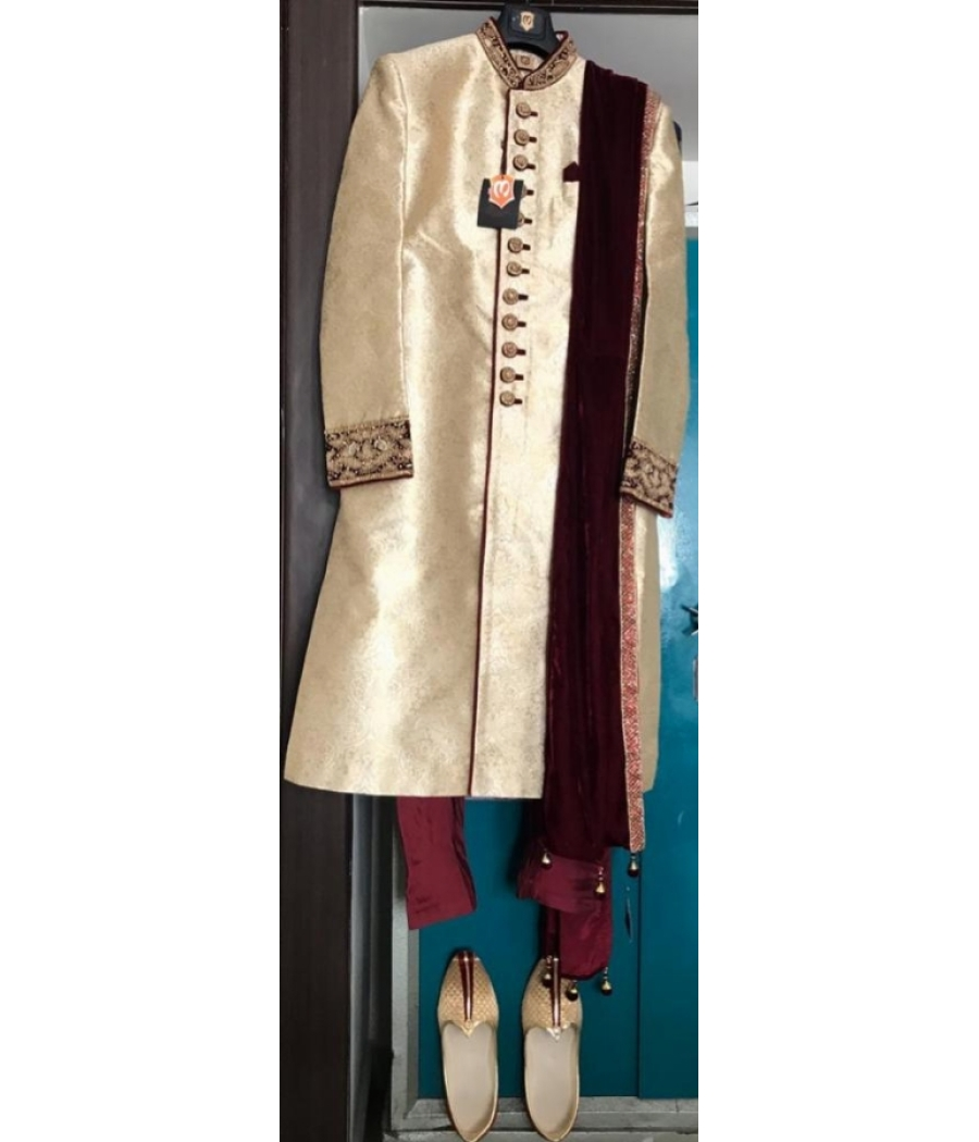 Golden with Maroon Sherwani with combinational shoes and dust cum travel bag