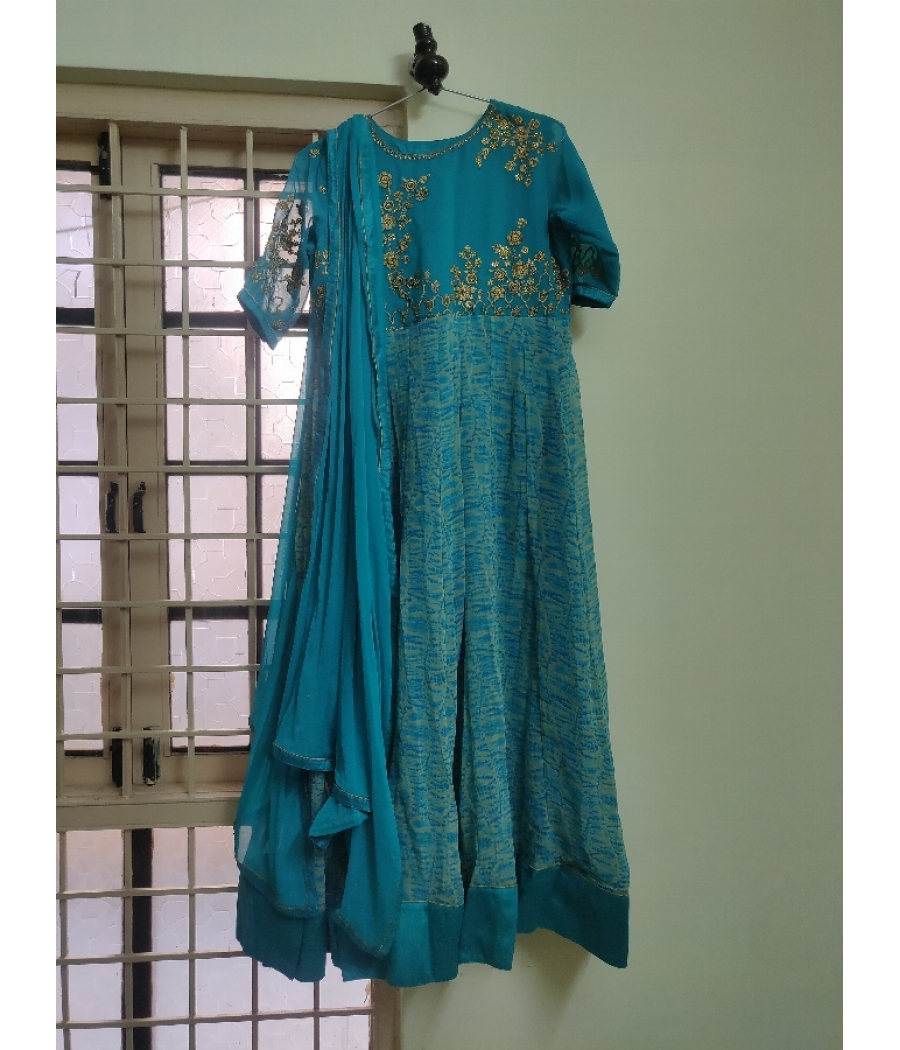 Torquoise blue tie and dye floor length anarkali