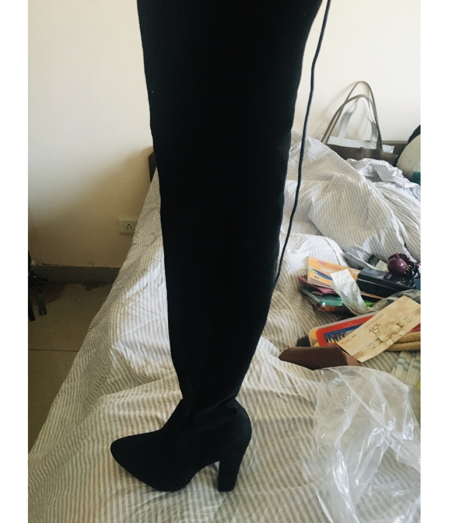 Black Boots knee length suede