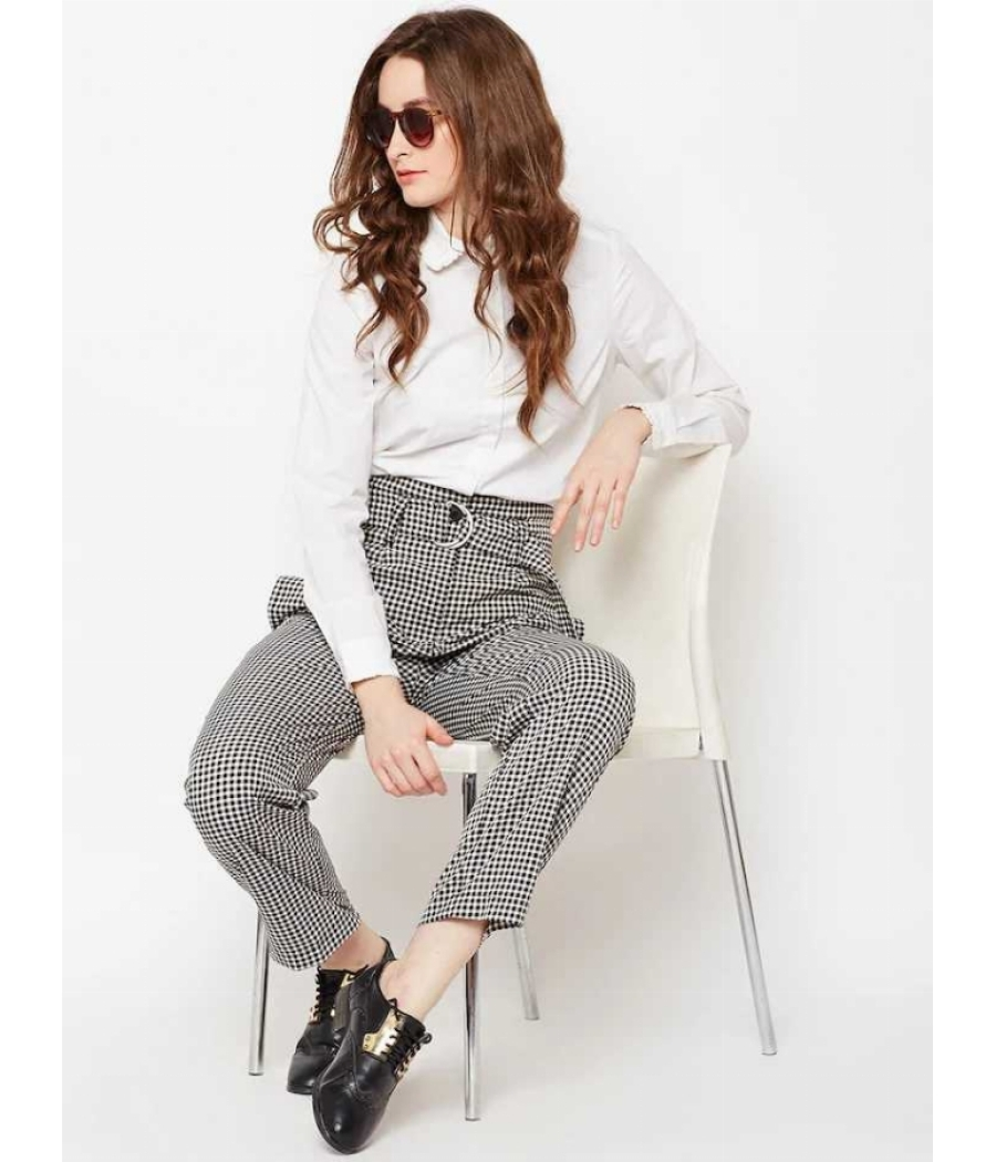Shein Women Black Checked Parallel Trousers