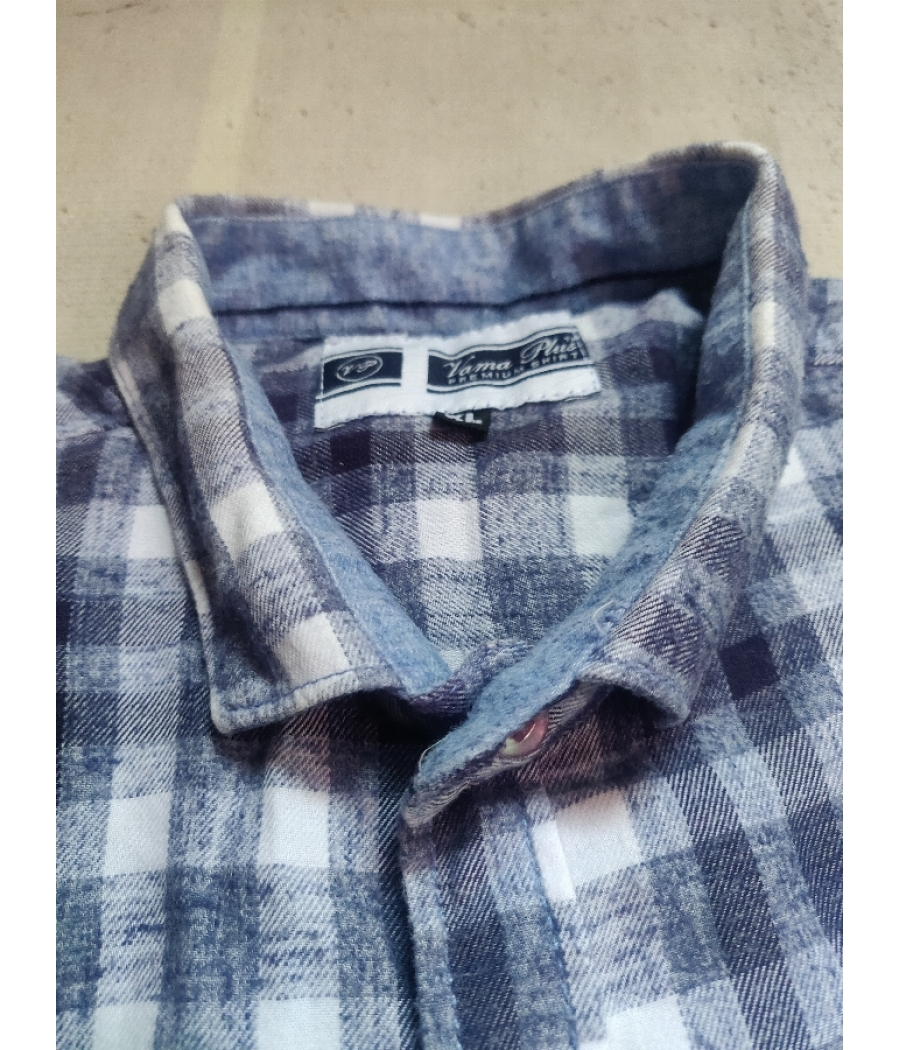Nevy Blue And White Checkered formal Shirt