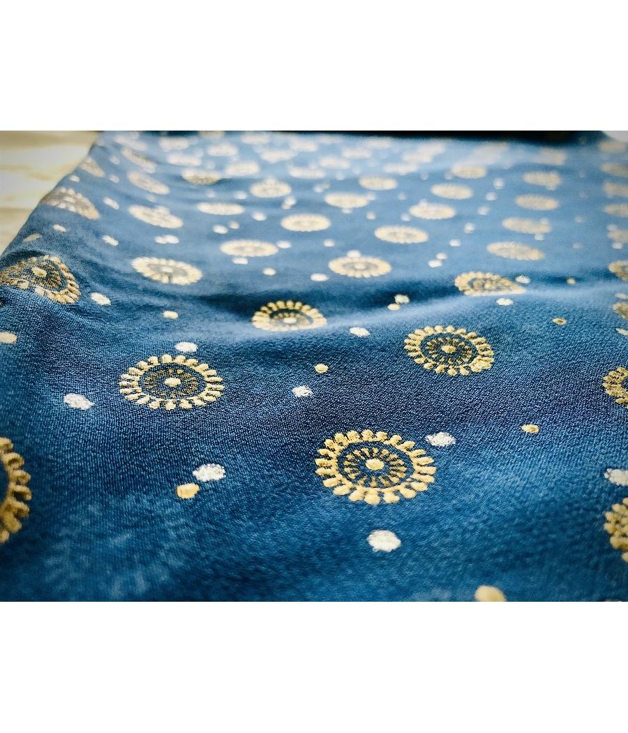 Beautiful Blue Chiffon Saree