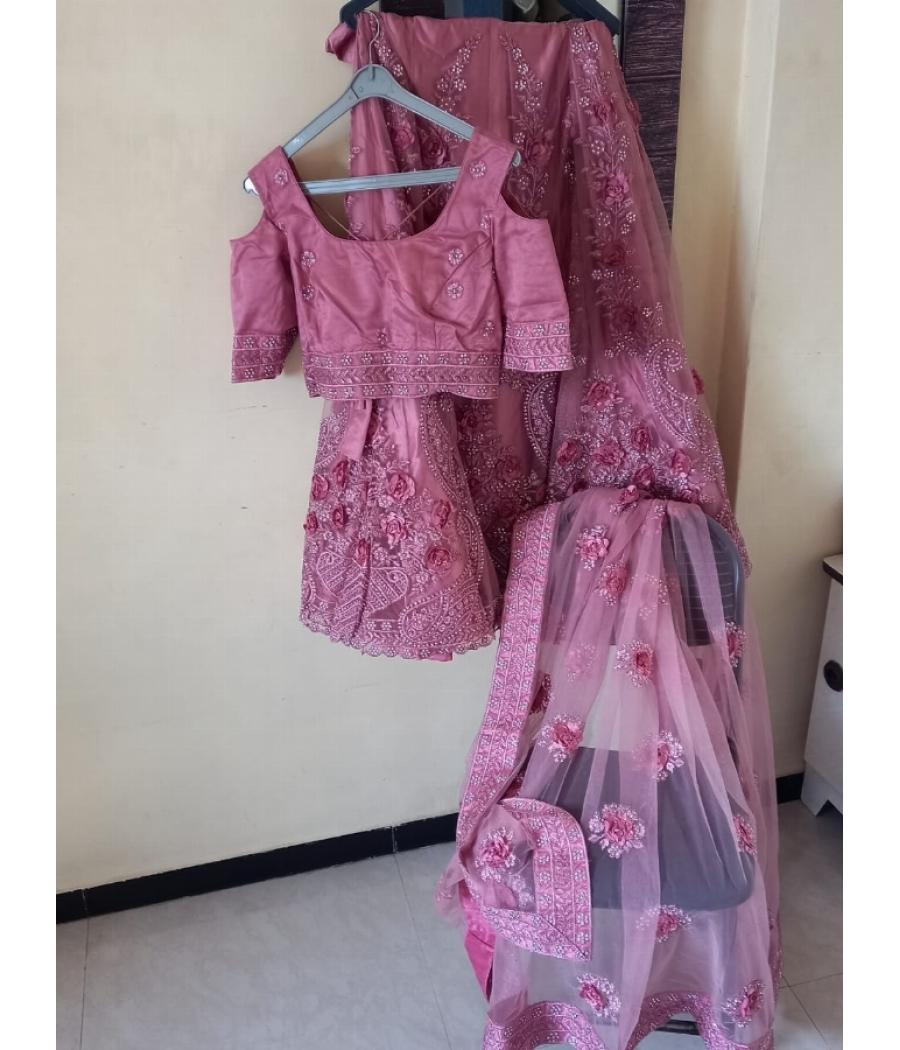 Pink Wedding lehenga fully embelished (diamond work)
