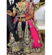 Heavy work velvet lehenga, stitched blouse and dupatta