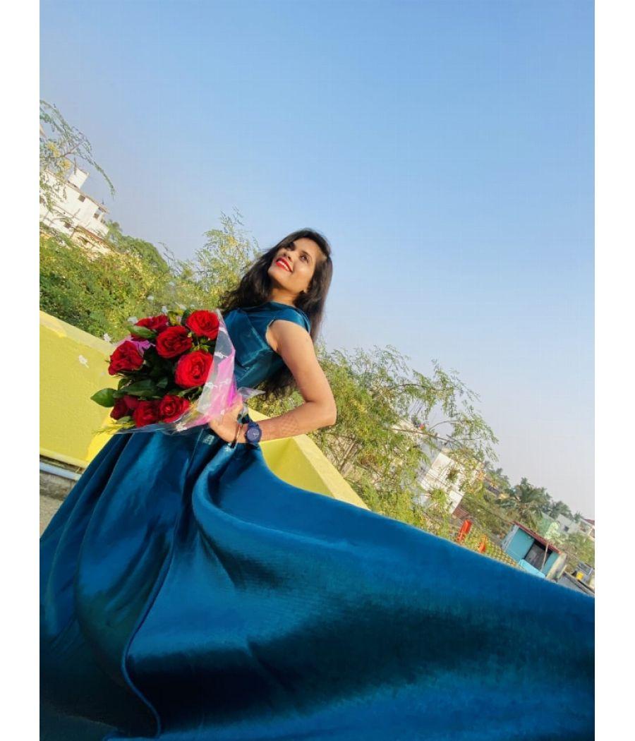 Cerulean colour gown