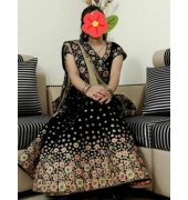 Black/Navy Blue floral Sequence work Lehenga