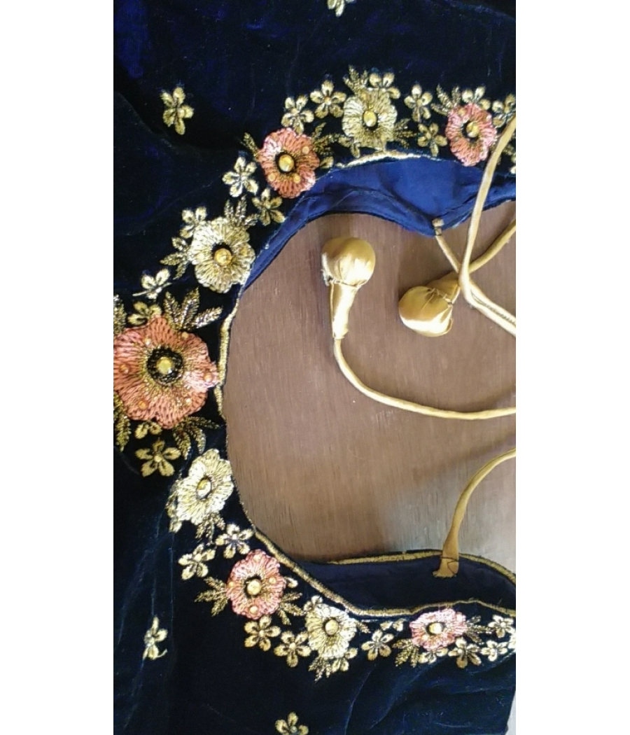 Black/Navy Blue floral Sequence work Lehenga