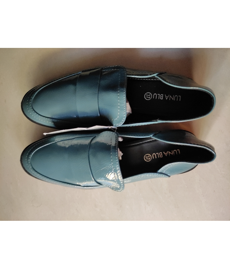 Teal glossy loafers