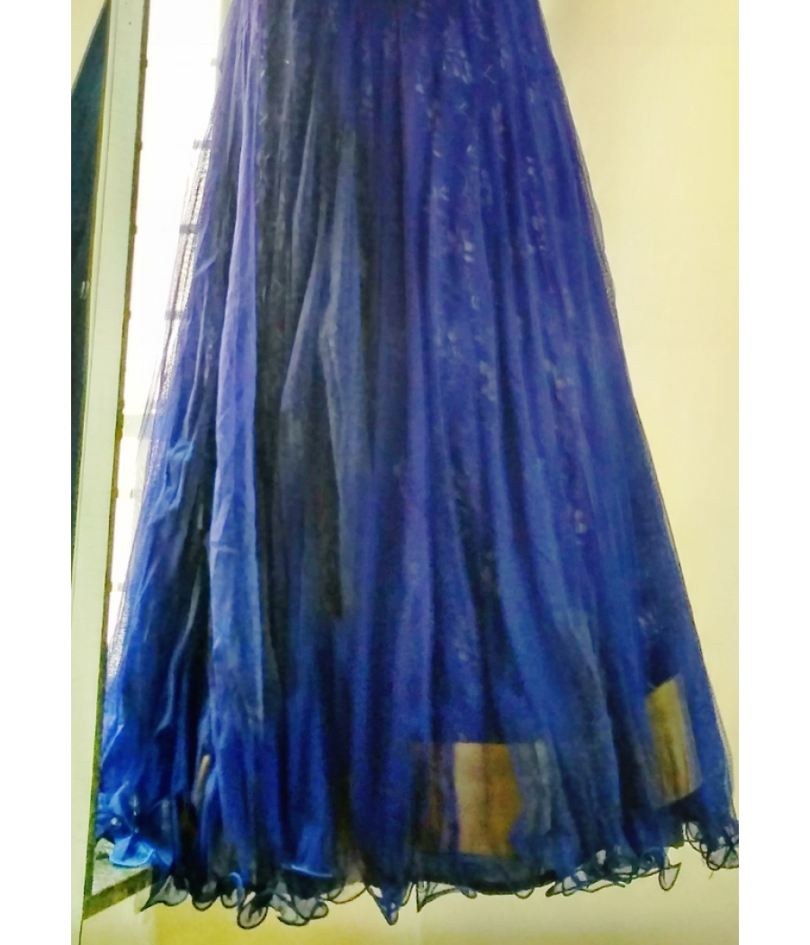 Dark Blue Layered/Netted/Sleeveless Party Evening Gown