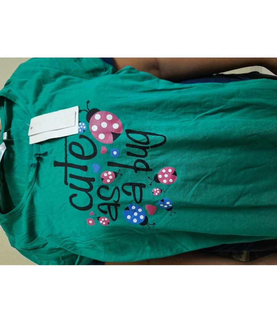 Unused Cute Green Tshirt 87 cm (M size) with price tag