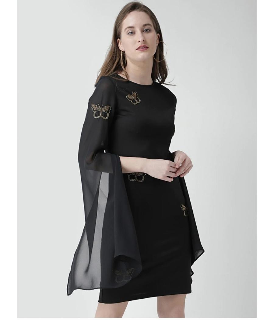 Slit Sleeved Sheath Dress