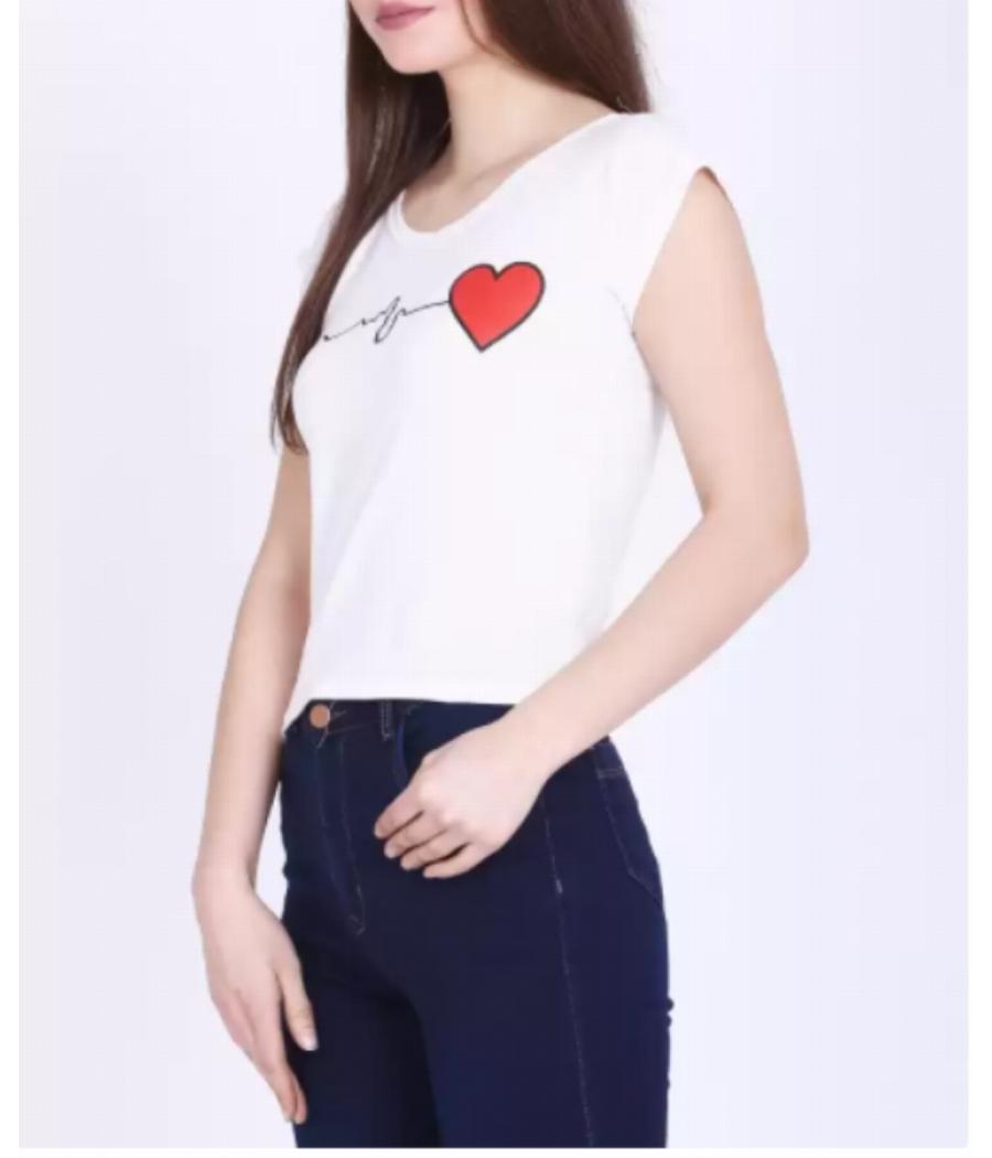 Regular Sleeve Printed Women White Crop Top