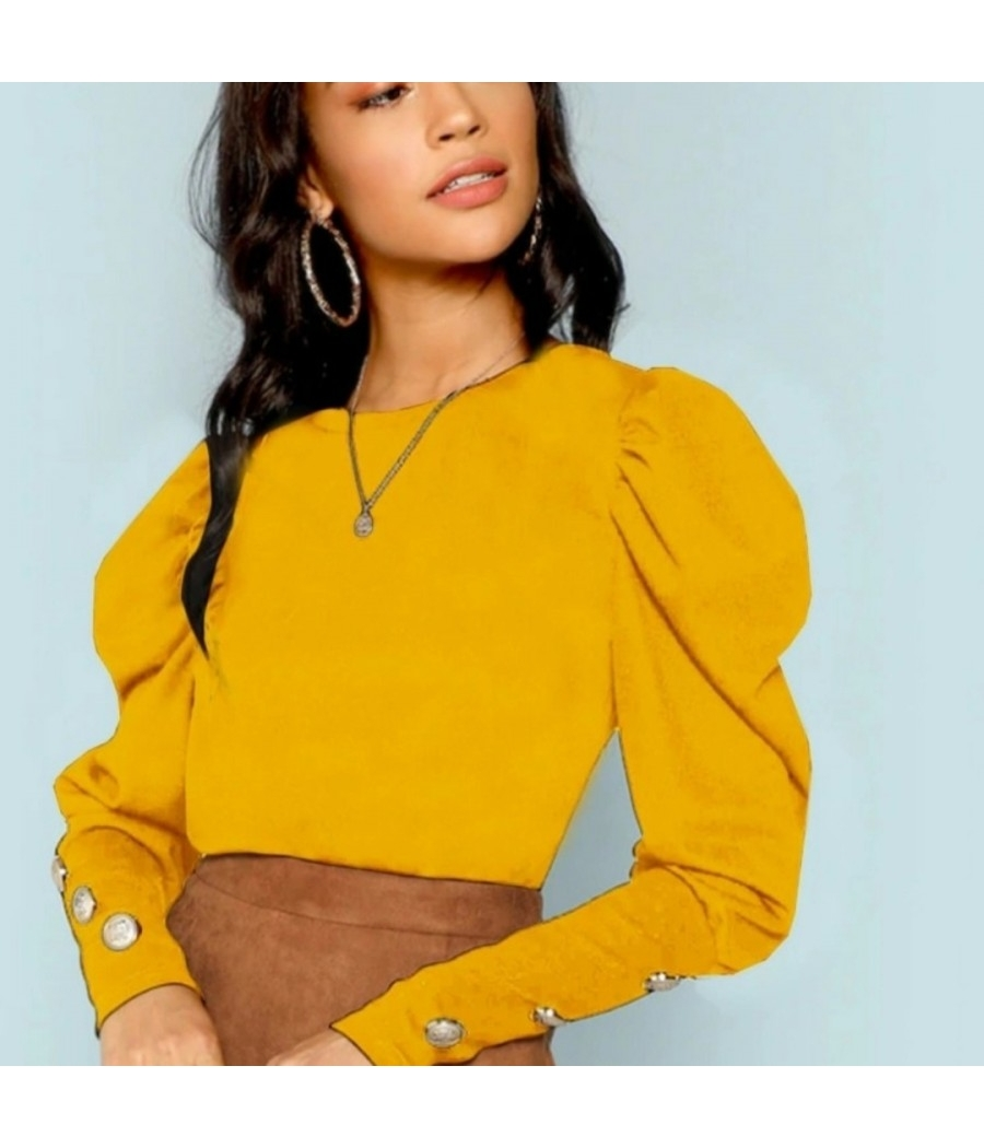 Yellow beautiful top with mutton sleeves