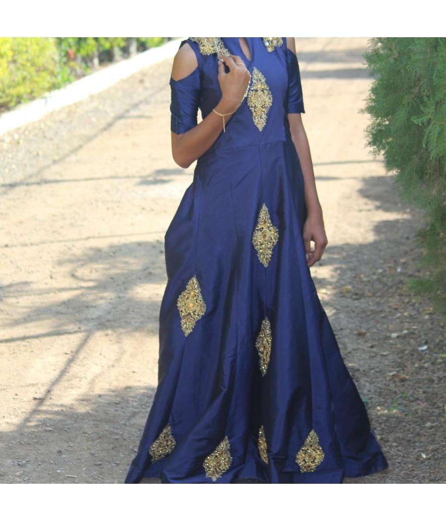 Royal Blue long silk designer anarkali dress
