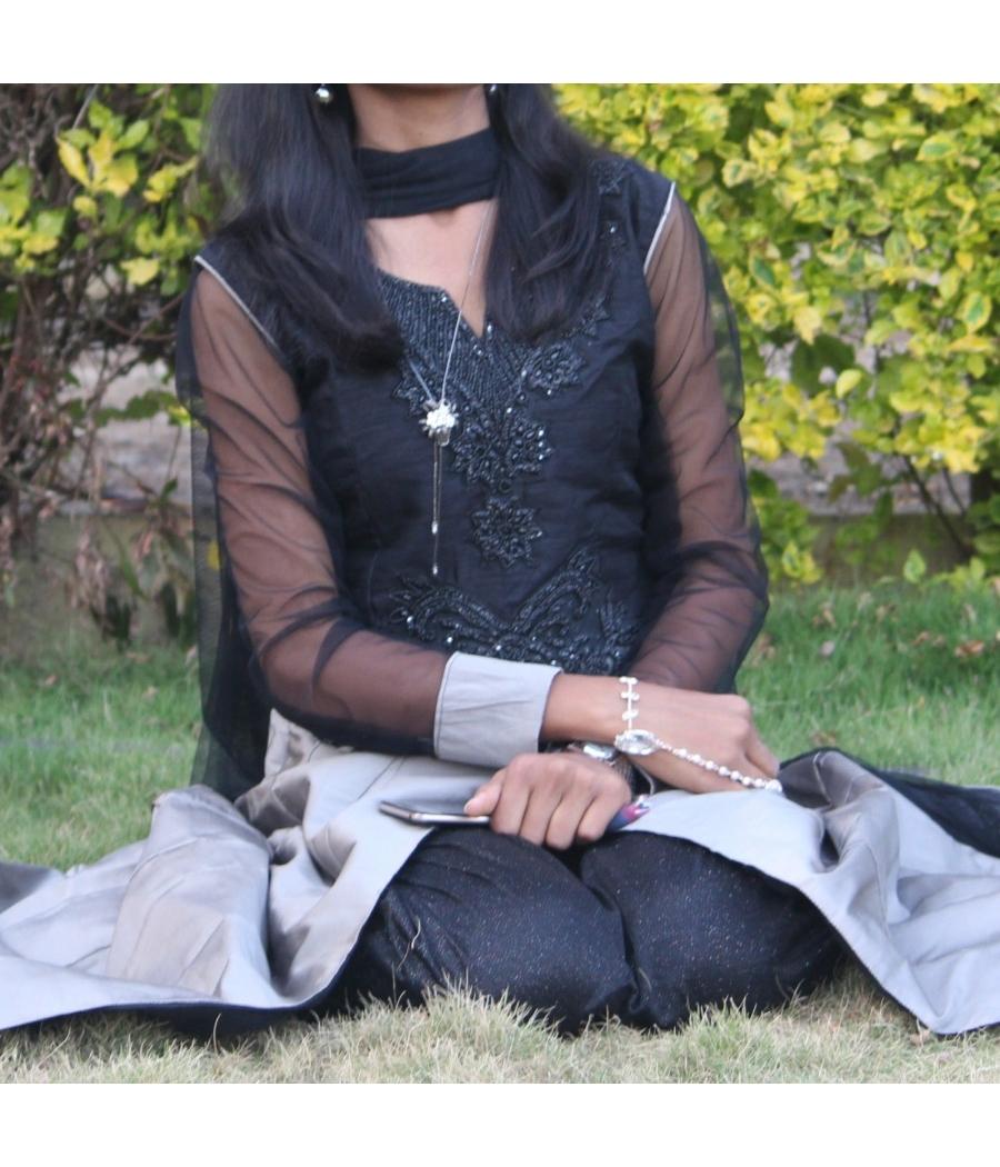 Black and grey anarkali dress with stone work