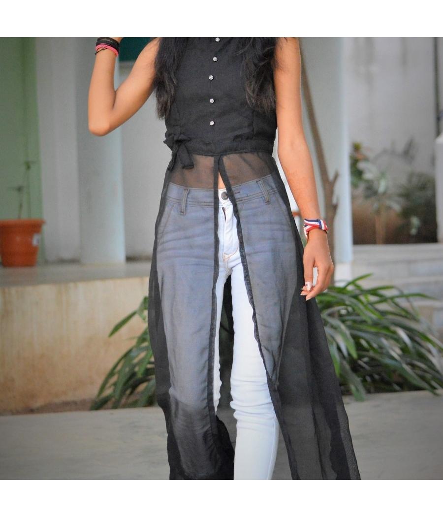 Women maxi black cut top