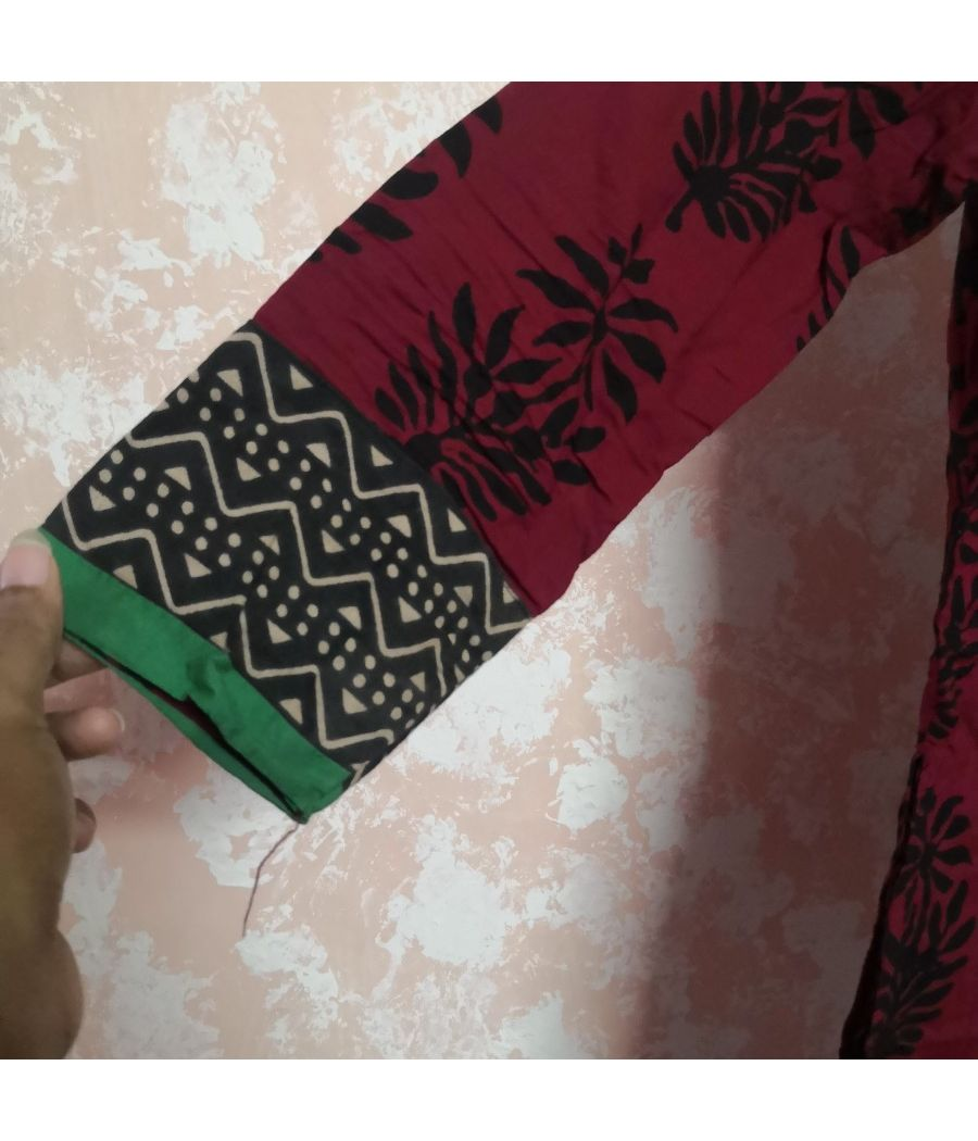 Westside maroon printed kurta with borders