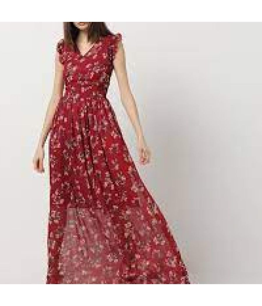 Floral Print Maxi Dress with Ruffled Trims