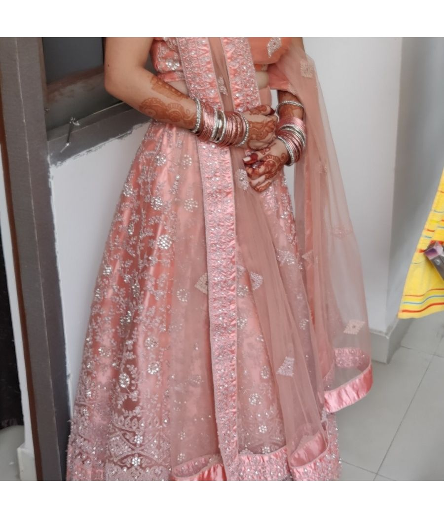 Wedding guest peach lehnga