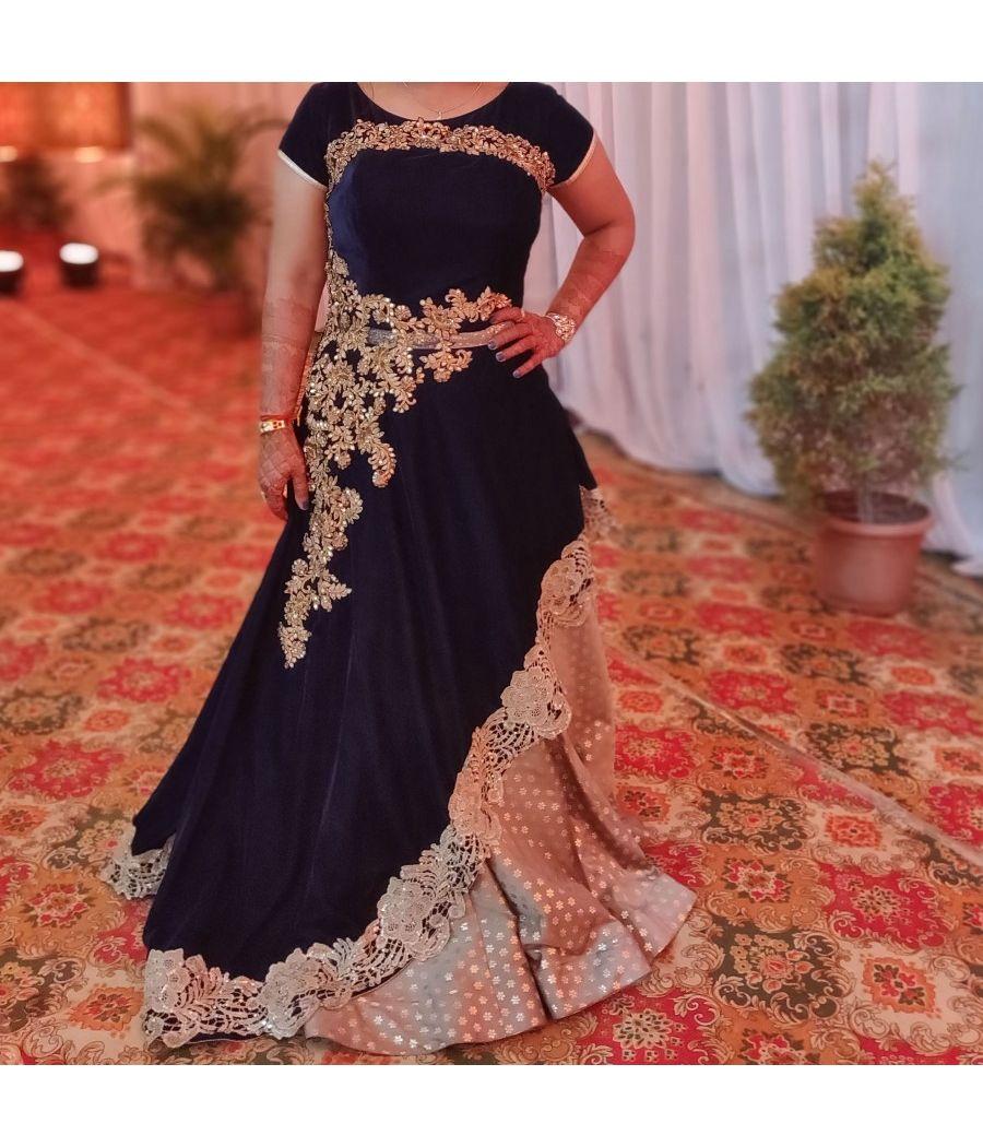 Velvet Navy Blue Evening Gown
