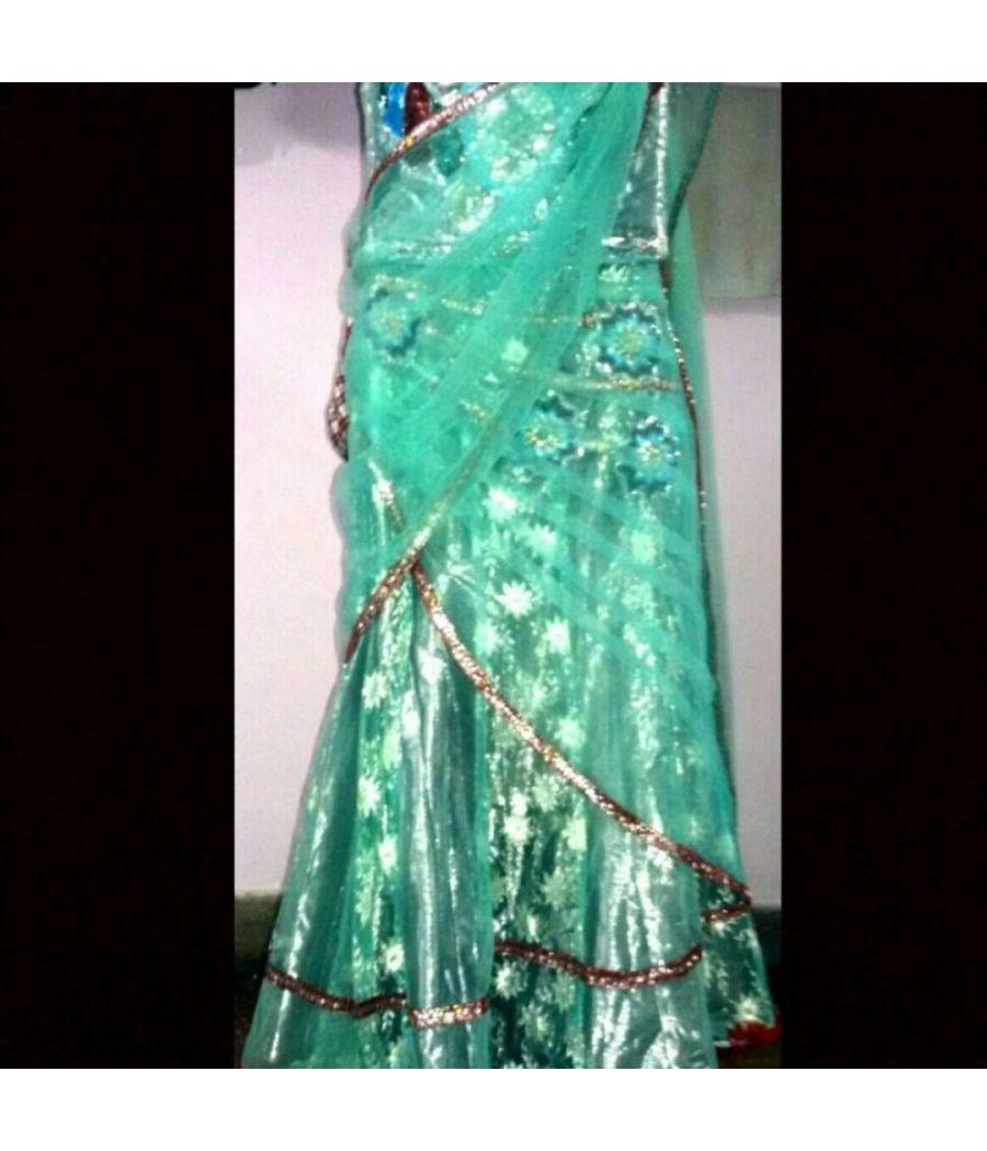 Indowestrn lehnga choli saree pattern