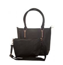 Aliado Faux Leather Solid Black Zipper Closure Handbag