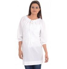 Samson Cotton Solid Embroidered White Tunic