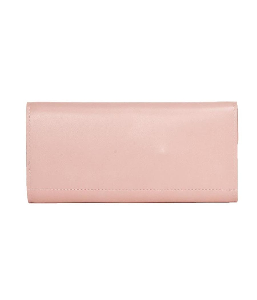 Envie Faux Leather Solid Pink Fold Over Magnetic Snap Closure Clutch