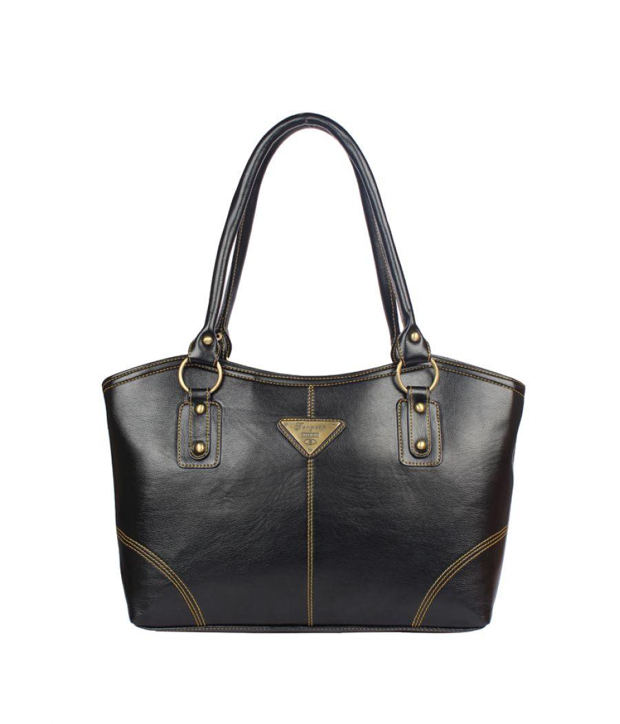 Aliado  Faux Leather Black Zipper Closure Formal Handbag