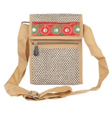 Aliado Jute White and Beige Coloured Velcro Closure Sling Bag