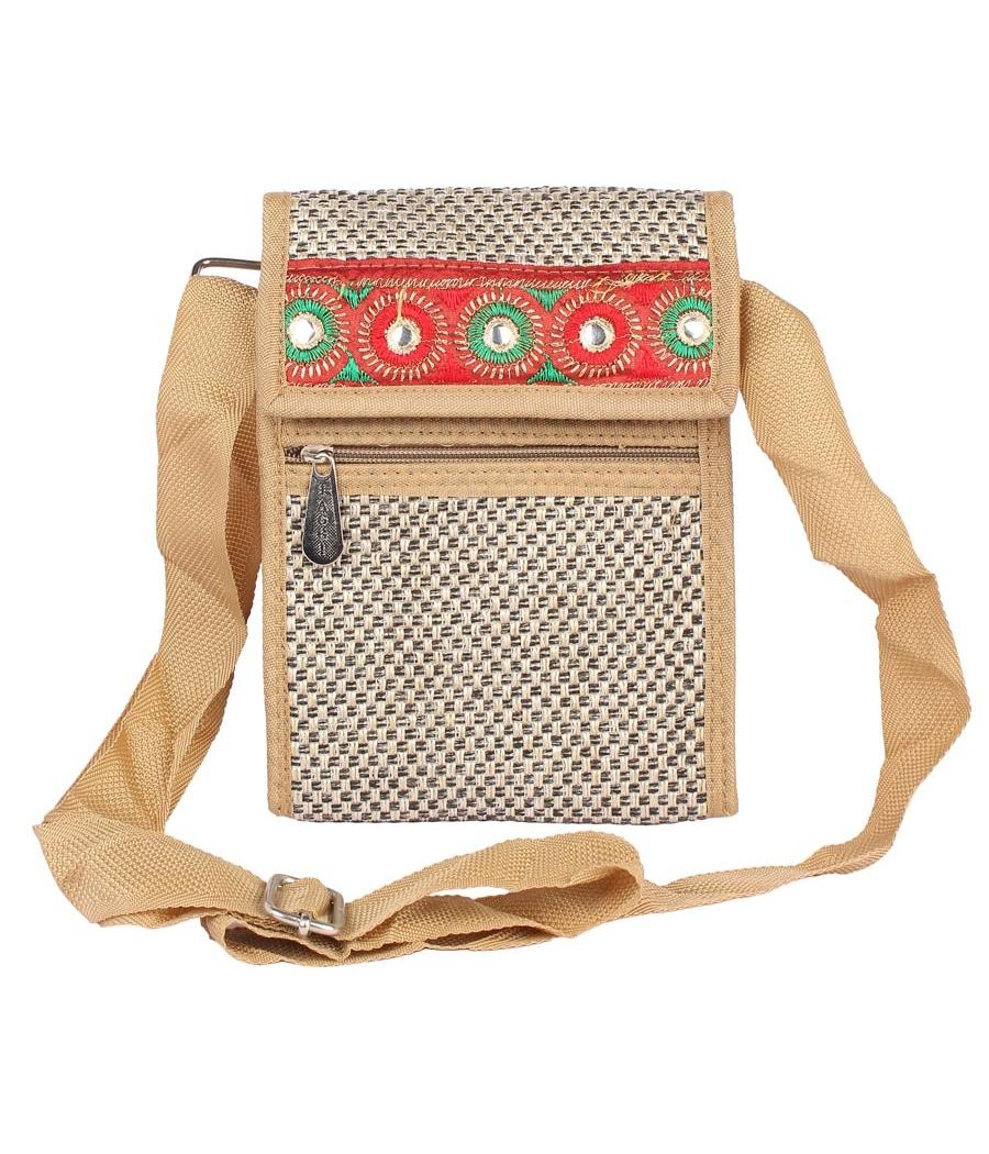 Aliado Jute White and Beige Coloured Velcro Closure Sling Bag